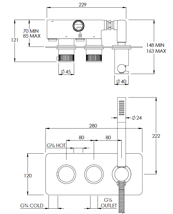 Decca 2 Outlet Shower Valve with Handshower Technical