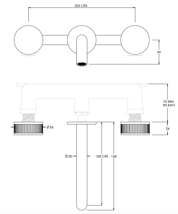 Decca 3 hole Wall Mixer Technical