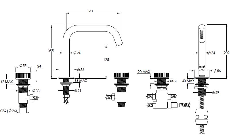 Decca Deck Mounted Bath Filler Technical