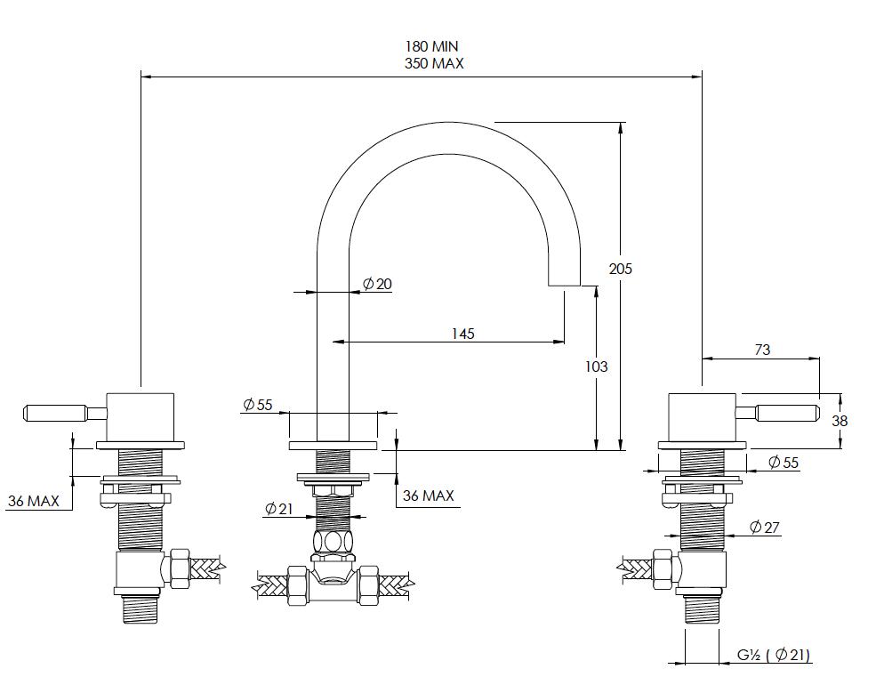 Domo 3 Hole Basin Mixer, Round Spout Technical