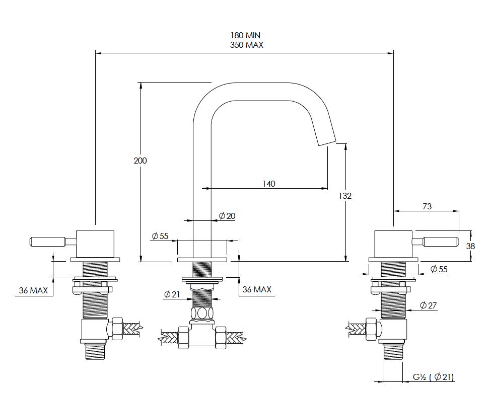 Domo 3 Hole Basin Mixer Technical