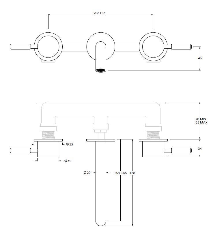 Domo 3 Hole Basin Mixer