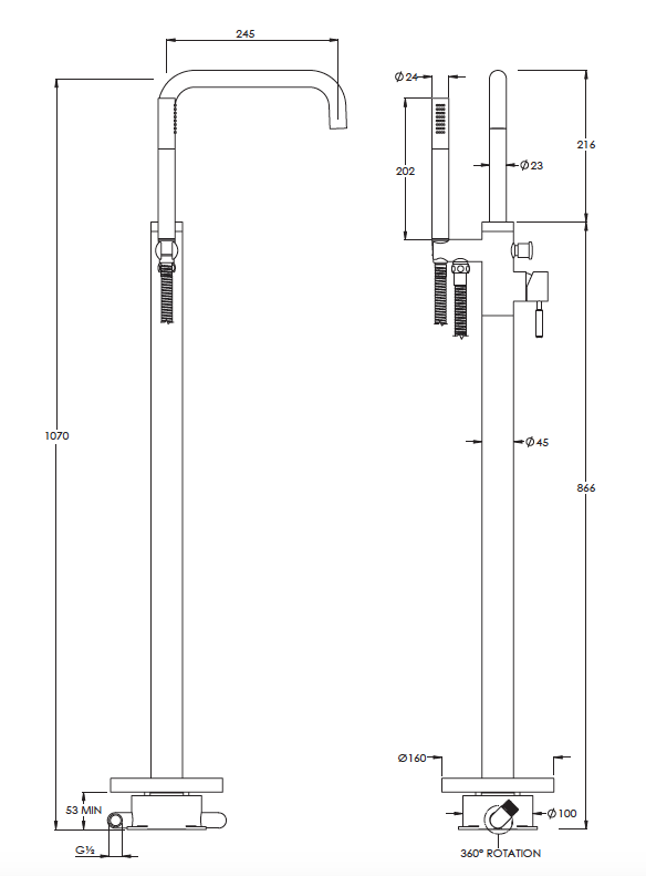 Domo Freestanding Bath Shower Mixer