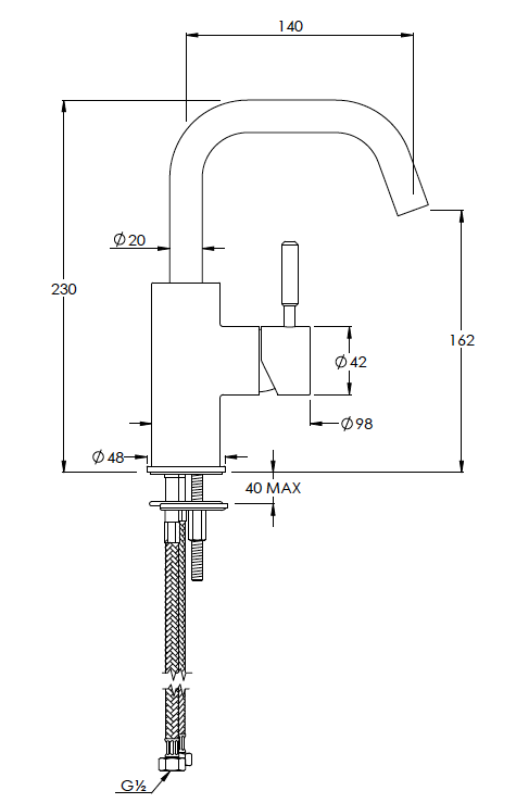 Domo Mono Basin Mixer with Swivel Spout Techincal
