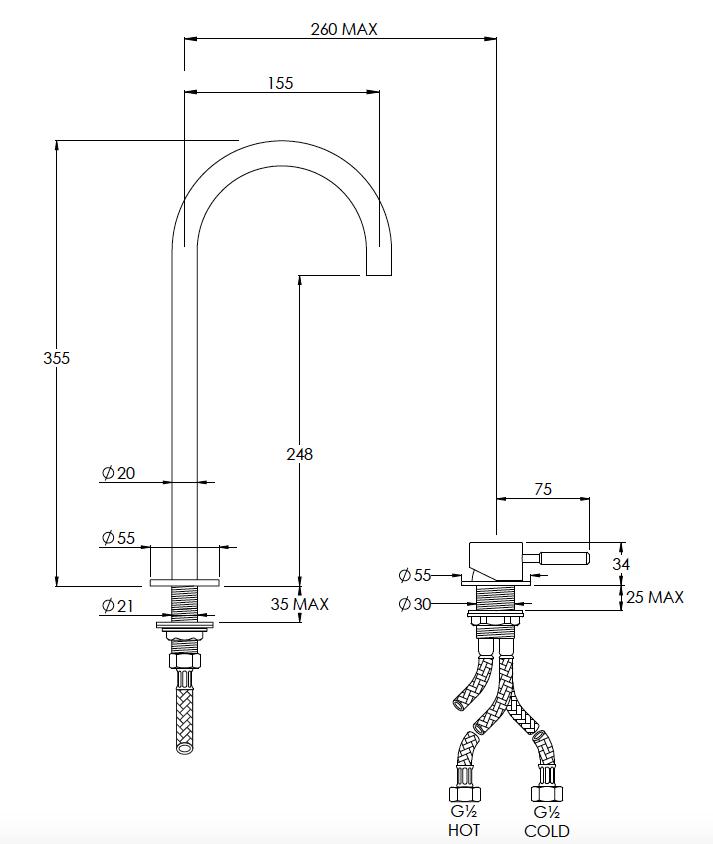 Domo Tall Deck Mounted 2 Hole Mixer Technical