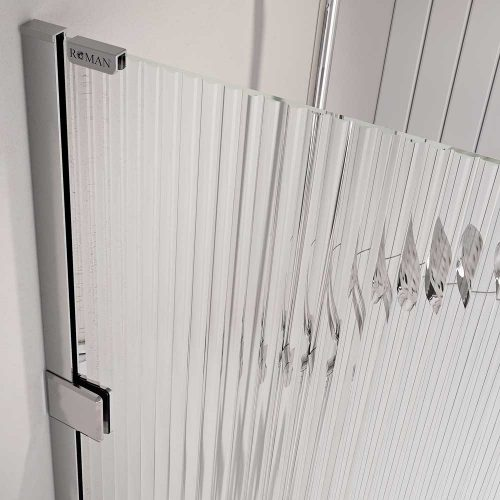 Liberty Fluted Glass Wetroom Panel Close up Chrome