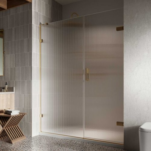Liberty Hinged Door with In Line Fluted Glass Brushed Brass Alcove