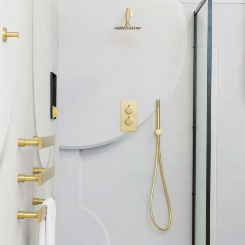 West One Bathrooms Brushed Brass Shower Set