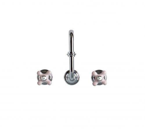 West One Bathrooms Cut Out Brassware 3 hole Chrome with Pink