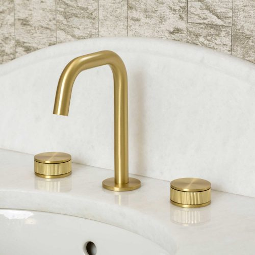West One Bathrooms Decca Basin Mixer  Brushed Brass