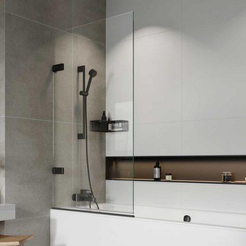 West One Bathrooms – Liberty Hinged Bathscreen black