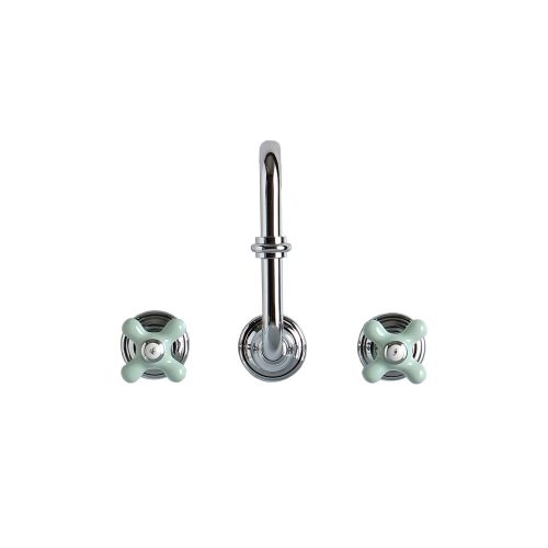 west one bathrooms online Chrome And Green 3 hole Basin Mixer Broadway