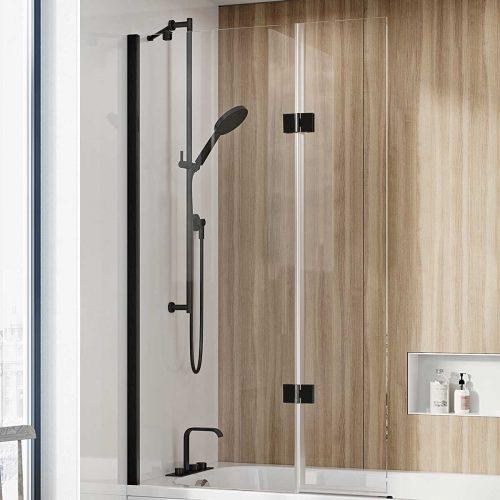West One Bathrooms Online – Innov8 Folding Bat hScreen Black N2BV213B