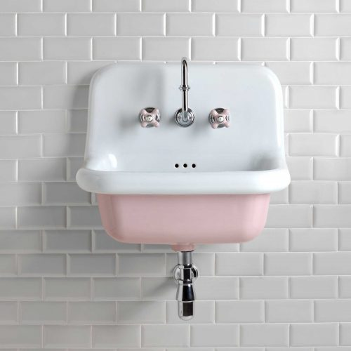 West One Bathrooms – Pastel Pink Broadway Basin PS White Tiles