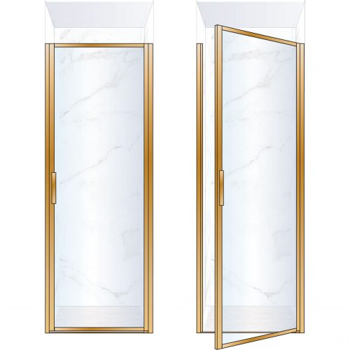 West One Bathrooms BORDOR80RBB – BORDER Collection Shower Door 800 x 2100 RH Brushed Brass Clear Glass