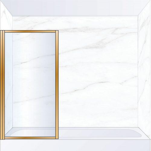 West One Bathrooms Online BORBATLBB – BORDER Pivot Bath Screen 800 x 1500 mm LH Brushed Brass & Clear Glass
