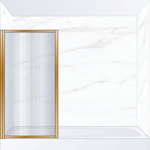 West One Bathrooms Online BORBATLBB – BORDER Pivot Bath Screen 800 x 1500 mm LH Brushed Brass & Fluted Glass