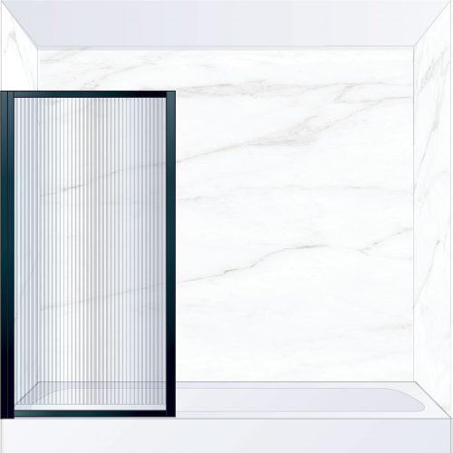 West One Bathrooms Online BORBATLBK – BORDER Pivot Bath Screen 800 x 1500 mm LH Matt Black & Fluted Glass