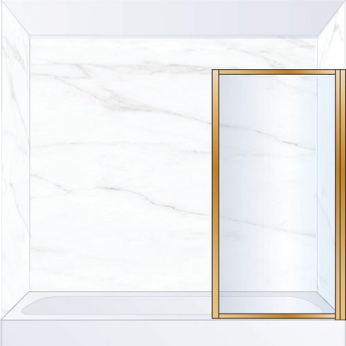West One Bathrooms Online BORBATRBB – BORDER Pivot Bath Screen 800 x 1500 mm RH Brushed Brass & Clear Glass