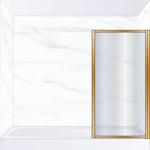 West One Bathrooms Online BORBATRBB – BORDER Pivot Bath Screen 800 x 1500 mm RH Brushed Brass & Fluted Glass