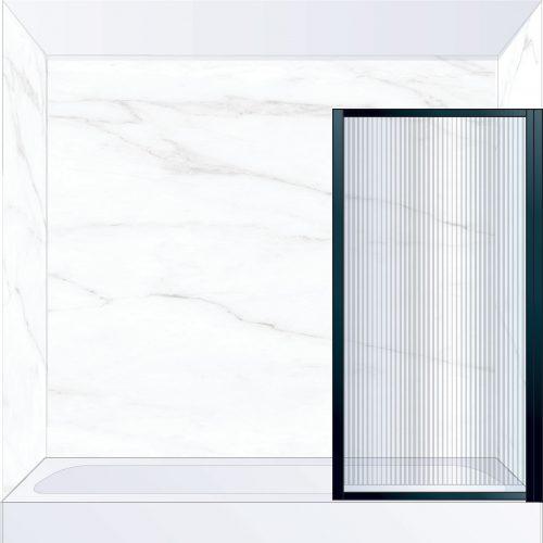West One Bathrooms Online BORBATRBK – BORDER Pivot Bath Screen 800 x 1500 mm RH Matt Black & Fluted Glass