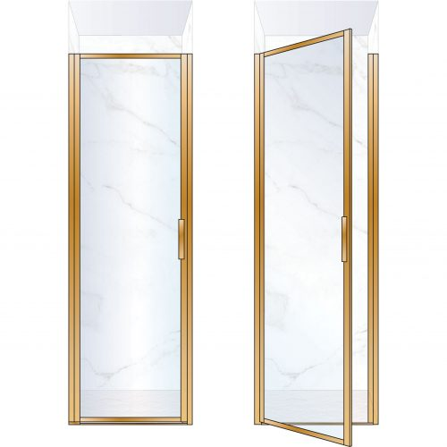 West One Bathrooms Online BORDOR70LBB – BORDER Collection Shower Door 700 x 2100 LH Brushed Brass Clear Glass