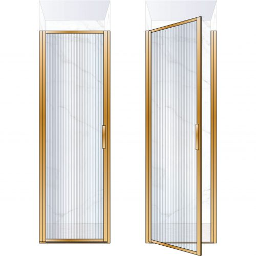 West One Bathrooms Online BORDOR70LBB – BORDER Collection Shower Door 700 x 2100 LH Brushed Brass Fluted Glass