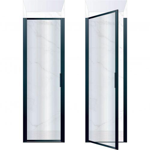 West One Bathrooms Online BORDOR70LBK – BORDER Collection Shower Door 700 x 2100 LH Matt Black Fluted Glass