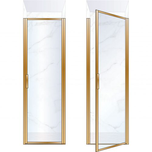 West One Bathrooms Online BORDOR70RBB – BORDER Collection Shower Door 700 x 2100 RH Brushed Brass Clear Glass