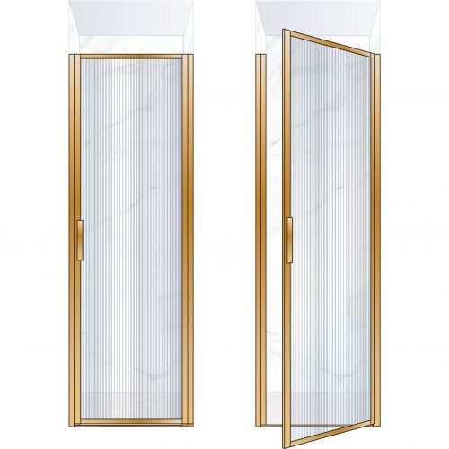 West One Bathrooms Online BORDOR70RBB – BORDER Collection Shower Door 700 x 2100 RH Brushed Brass Fluted Glass