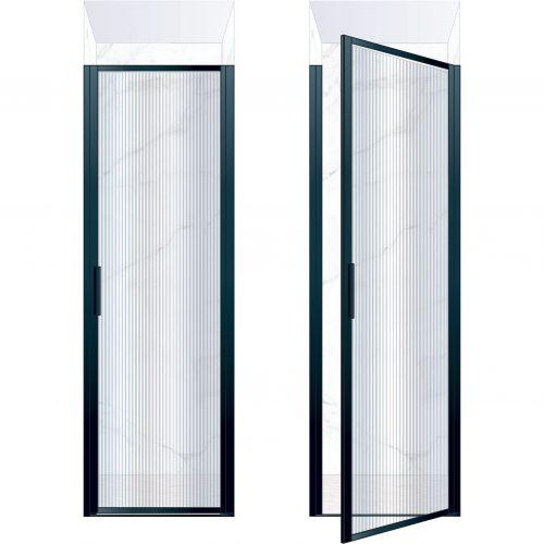 West One Bathrooms Online BORDOR70RBK – BORDER Collection Shower Door 700 x 2100 RH Matt Black Fluted Glass