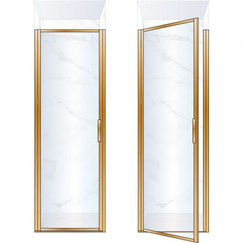 West One Bathrooms Online BORDOR76LBB – BORDER Collection Shower Door 760 x 2100 LH Brushed Brass Clear Glass