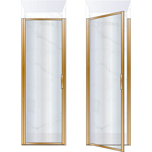 West One Bathrooms Online BORDOR76LBB – BORDER Collection Shower Door 760 x 2100 LH Brushed Brass Fluted Glass