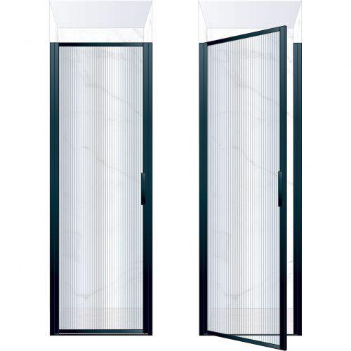 West One Bathrooms Online BORDOR76LBK – BORDER Collection Shower Door 760 x 2100 LH Matt Black Fluted Glass