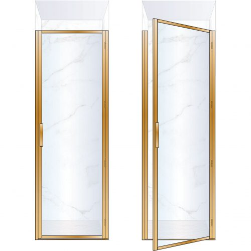 West One Bathrooms ONline BORDOR76RBB – BORDER Collection Shower Door 760 x 2100 RH Brushed Brass Clear Glass