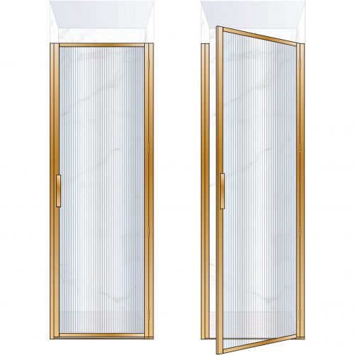 West One Bathrooms Online BORDOR76RBB – BORDER Collection Shower Door 760 x 2100 RH Brushed Brass Fluted Glass