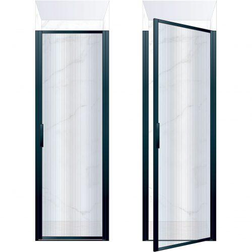 West One Bathrooms Online BORDOR76RBK – BORDER Collection Shower Door 760 x 2100 RH Matt Black Fluted Glass