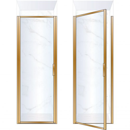 West One bathrooms Online BORDOR80LBB – BORDER Collection Shower Door 800 x 2100 LH Brushed Brass Clear Glass