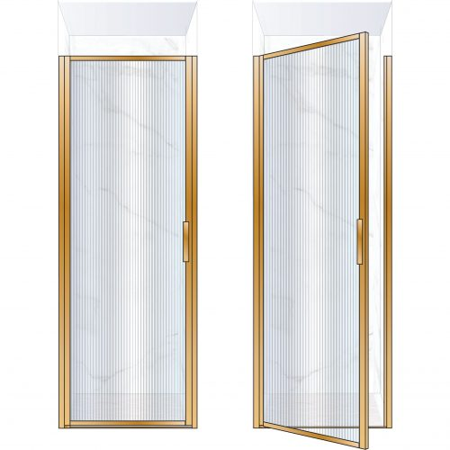 West One Bathrooms Online BORDOR80LBB – BORDER Collection Shower Door 800 x 2100 LH Brushed Brass Fluted Glass