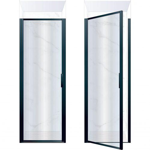 West One Bathrooms Online BORDOR80LBK – BORDER Collection Shower Door 800 x 2100 LH Matt Black Fluted Glass