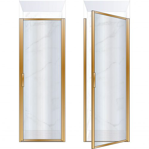 West One Bathrooms Online BORDOR80RBB – BORDER Collection Shower Door 800 x 2100 RH Brushed Brass Fluted Glass