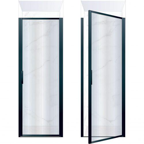 West One Bathrooms Online BORDOR80RBK – BORDER Collection Shower Door 800 x 2100 RH Matt Black Fluted Glass