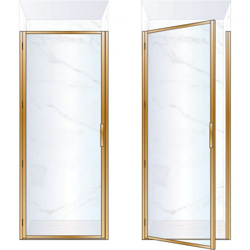 West One Bathrooms Online BORDOR90LBB – BORDER Collection Shower Door 900 x 2100 LH Brushed Brass Clear Glass