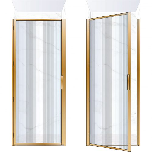 West One Bathrooms Online BORDOR90LBB – BORDER Collection Shower Door 900 x 2100 LH Brushed Brass Fluted Glass
