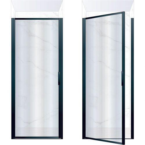 West One Bathrooms Online BORDOR90LBK – BORDER Collection Shower Door 900 x 2100 LH Matt Black Fluted Glass