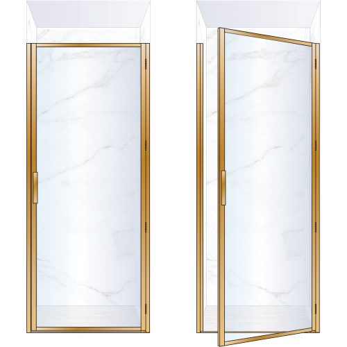 West One Bathrooms Online BORDOR90RBB – BORDER Collection Shower Door 900 x 2100 RH Brushed Brass Clear Glass