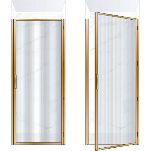 West One Bathrooms Online BORDOR90RBB – BORDER Collection Shower Door 900 x 2100 RH Brushed Brass Fluted Glass