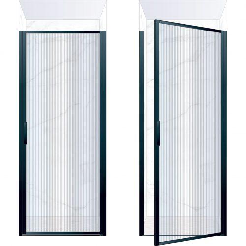 West One Bathrooms Online BORDOR90RBK – BORDER Collection Shower Door 900 x 2100 RH Matt Black Fluted Glass