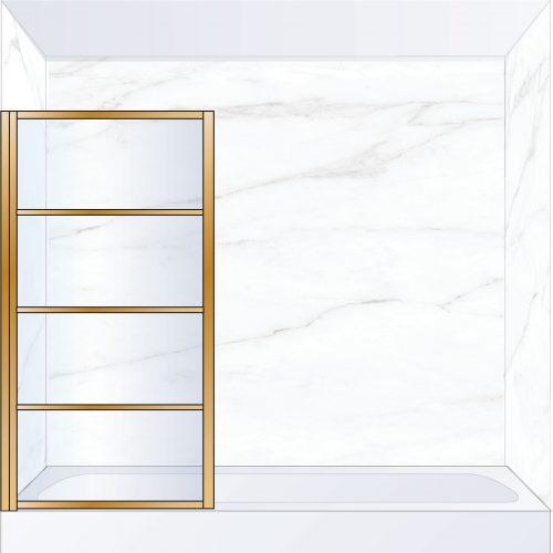 West One Bathrooms Online DECBATLBB – DECO Pivot Bath Screen 800 x 1500 mm LH Brushed Brass & Clear Glass