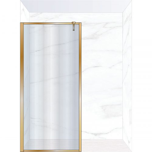 West One Bathrooms Online FXBOR100BB – BORDER Fixed Panel 1000 x 2100 mm Brushed Brass & Fluted Glass
